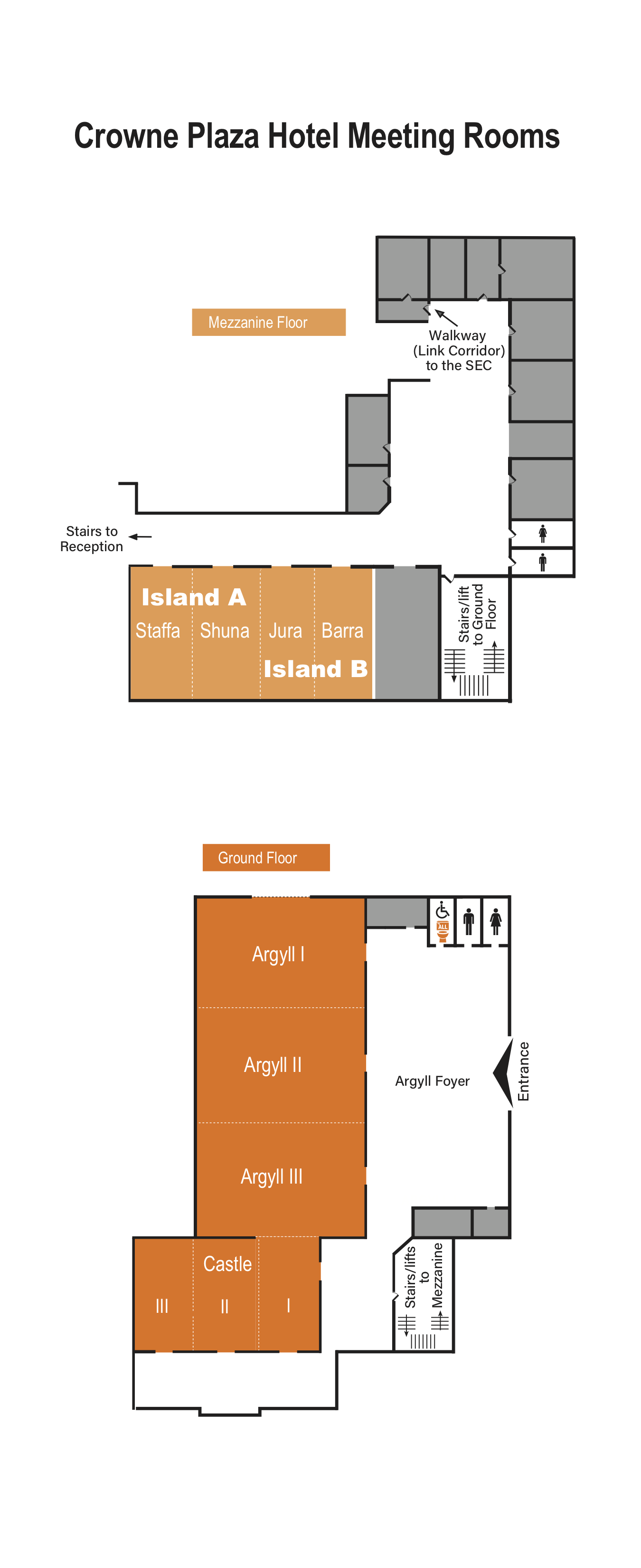 Map of the Crowne Plaza Hotel, one of the CHI 2019 venues.